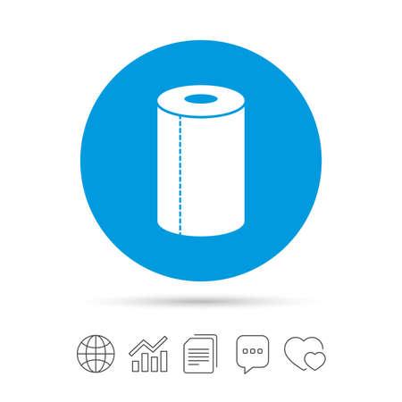 Icona del segno asciugamano di carta. Simbolo del rotolo di cucina. Copia file, nuvoletta chat e icone web grafico. Vettore Archivio Fotografico - 78747220