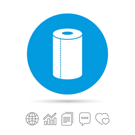 Paper towel sign icon. Kitchen roll symbol. Copy files, chat speech bubble and chart web icons. Vector