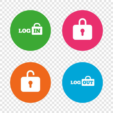 Login and Logout icons. Sign in or Sign out symbols. Lock icon. Round buttons on transparent background. Vector Illustration