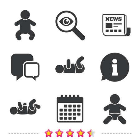 新生児のアイコン。赤ちゃんの乳児や幼児のシンボル。子供のシルエット。新聞・情報・ カレンダーのアイコン。拡大鏡、チャット記号を調査しま