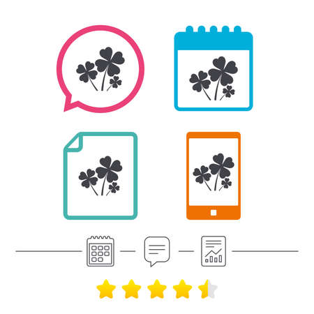 Clovers with four leaves sign icon. Saint Patrick symbol. Calendar, chat speech bubble and report linear icons. Star vote ranking. Vector