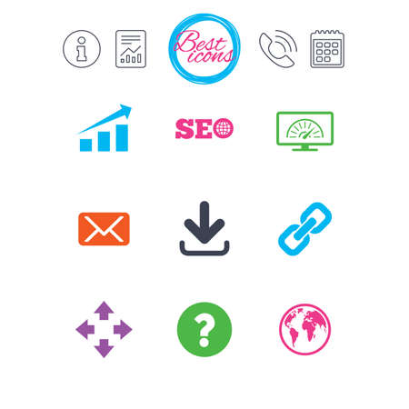 Information, report and calendar signs. Internet, seo icons. Bandwidth speed, download arrow and mail signs. Hyperlink, monitoring symbols. Classic simple flat web icons. Vector Illustration