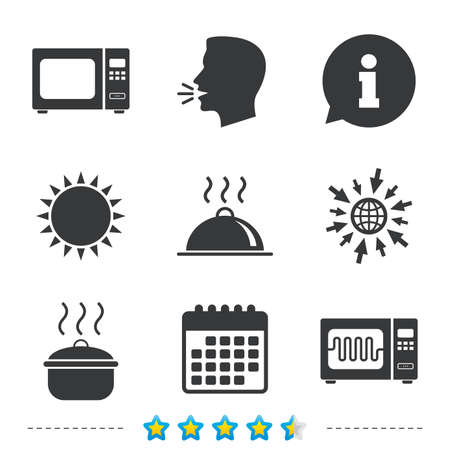 Microwave grill oven icons. Cooking pan signs. Food platter serving symbol. Information, go to web and calendar icons. Sun and loud speak symbol. Vector