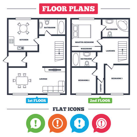 Architecture plan with furniture. House floor plan. Attention icons. Exclamation speech bubble symbols. Caution signs. Kitchen, lounge and bathroom. Vector