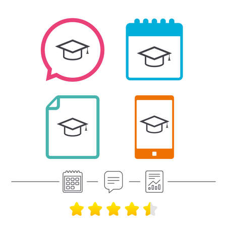 Graduation cap sign icon. Higher education symbol. Calendar, chat speech bubble and report linear icons. Star vote ranking. Vector Illustration