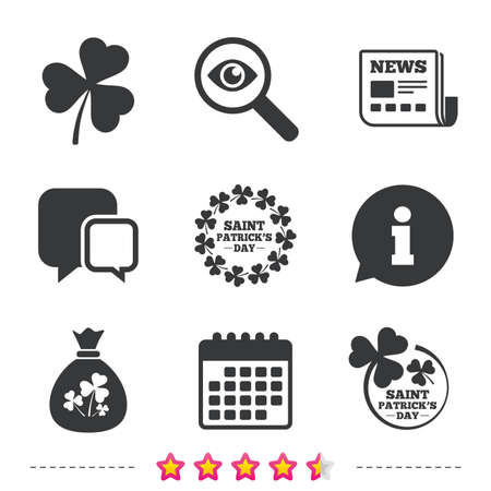 lucky clover: Saint Patrick day icons. Money bag with clover sign. Wreath of trefoil shamrock clovers. Symbol of good luck. Newspaper, information and calendar icons. Investigate magnifier, chat symbol. Vector