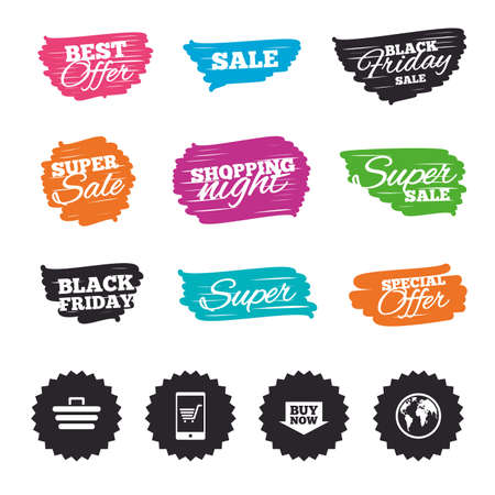 customer support: Ink brush sale banners and stripes. Online shopping icons. Smartphone, shopping cart, buy now arrow and internet signs. WWW globe symbol. Special offer. Ink stroke. Vector Illustration