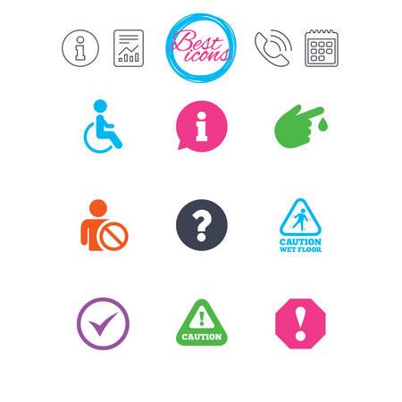 Señales de información, informes y calendario. Iconos de notificación de atención. Signo de interrogación y signos de información. Lesiones y símbolos de personas discapacitadas. Iconos de web plana simple clásico. Vector Foto de archivo - 78776711