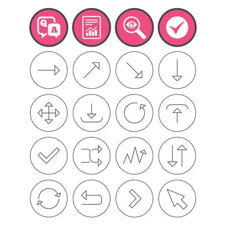 질문과 대답, 진드기를 확인하고 표지판을보고하십시오. 화살표 아이콘 집합입니다. 기호를 다운로드, 업로드, 확인 또는 체크하십시오. 새로 고침, 전