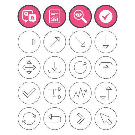 Question and answer, check tick and report signs. Arrows line icons. Download, upload, check or tick symbols. Refresh, fullscreen and shuffle thin outline signs. Q&A and investigate symbol. Vector Stock Vector - 78776721