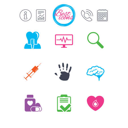 Information, report and calendar signs. Medicine, medical health and diagnosis icons. Blood, syringe injection and neurology signs. Tooth implant, magnifier symbols. Classic simple flat web icons Illusztráció
