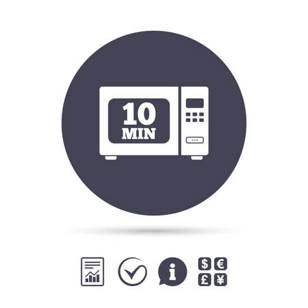 Cook in microwave oven sign icon. Heat 10 minutes. Kitchen electric stove symbol. Report document, information and check tick icons. Currency exchange. Vector