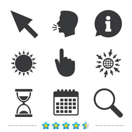 Mouse cursor and hand pointer icons. Hourglass and magnifier glass navigation sign symbols. Information, go to web and calendar icons. Sun and loud speak symbol. Vector Illustration