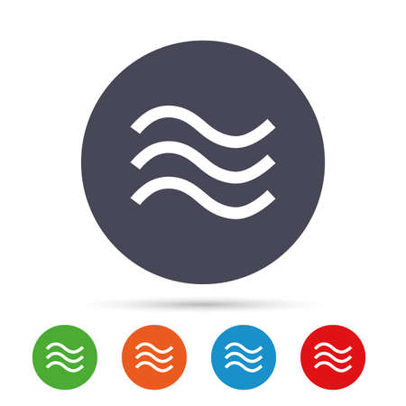 Water waves sign icon. Flood symbol. Round colourful buttons with flat icons. Vector