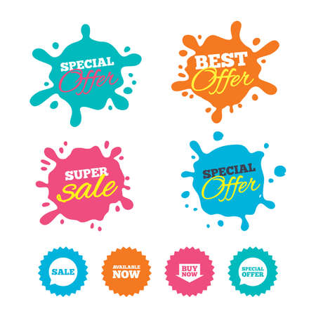 Best offer and sale splash banners. Sale icons. Special offer speech bubbles symbols. Buy now arrow shopping signs. Available now. Web shopping labels. Vector Illustration