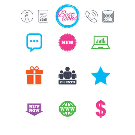 Information, report and calendar signs. Online shopping, e-commerce and business icons. Gift box, chat message and star signs. Chart, dollar and clients symbols. Classic simple flat web icons. Vector