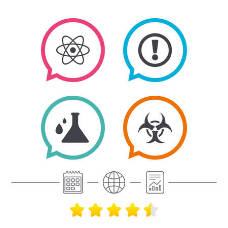 Attention and biohazard icons. Chemistry flask sign. Atom symbol. Calendar, internet globe and report linear icons. Star vote ranking. Vector