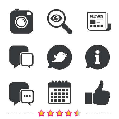 Hipster fotocamera pictogram. Vind ik leuk en Chat tekstballon teken. Vogel symbool. Krant, informatie en kalenderpictogrammen. Onderzoek vergrootglas, chat-symbool. Vector