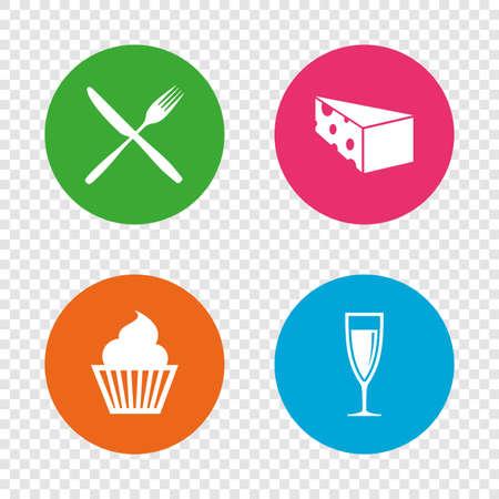 Icônes de nourriture. Symbole de cupcake muffin. Signe de fourchette et couteau. Un verre de champagne ou de vin. Tranche de fromage. Boutons ronds sur fond transparent. Vecteur Banque d'images - 78776896