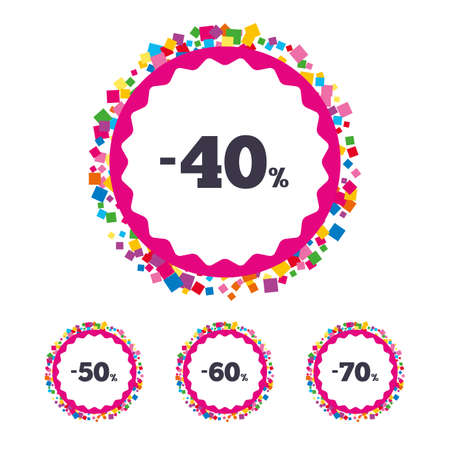 Web buttons with confetti pieces. Sale discount icons. Special offer price signs. 40, 50, 60 and 70 percent off reduction symbols. Bright stylish design. Vector Çizim