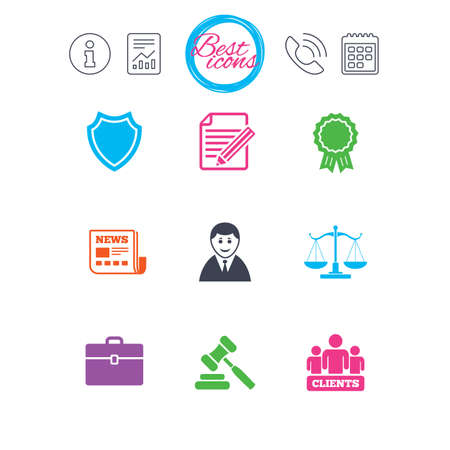 Information, report and calendar signs. Lawyer, scales of justice icons. Clients, auction hammer and law judge symbols. Newspaper, award and agreement document signs. Classic simple flat web icons Ilustração