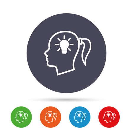 ランプ電球記号アイコンで頭します。ピグテールのシンボルと女性女性人間頭アイデア。フラット アイコンと丸いカラフルなボタン。ベクトル