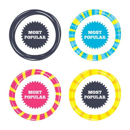 가장 인기있는 기호 아이콘입니다. 베스트셀러 기호. 색된 단추 아이콘입니다. 포커 칩 개념입니다. 벡터 일러스트