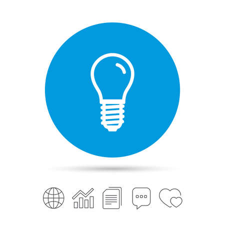 Light bulb icon. Lamp E14 screw socket symbol. Led light sign. Copy files, chat speech bubble and chart web icons. Vector