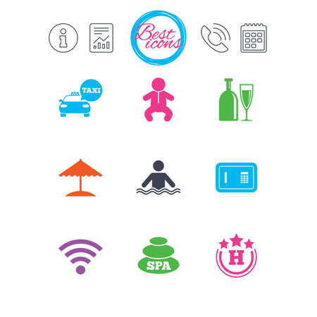 Information, report and calendar signs. Hotel, apartment service icons. Spa, swimming pool signs. Alcohol drinks, wifi internet and safe symbols. Classic simple flat web icons. Vector