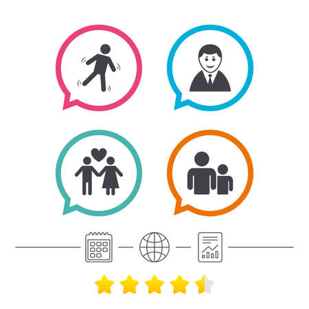Businessman person icon. Group of people symbol. Man love Woman or Lovers sign. Caution slippery. Calendar, internet globe and report linear icons. Star vote ranking. Vector