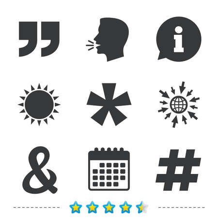 Citaat, asterisk voetnootpictogrammen. Hashtag sociale media en ampersand-symbolen. Logische operator EN teken programmeren. Informatie, ga naar web- en kalenderpictogrammen. Zon en luid spreken symbool. Vector Stock Illustratie