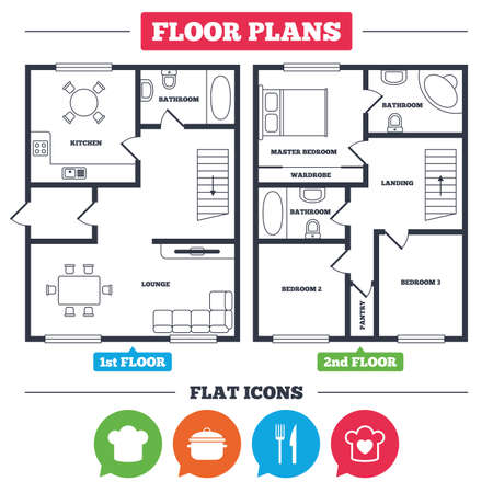 Architecture plan with furniture. House floor plan. Chief hat and cooking pan icons. Fork and knife signs. Boil or stew food symbols. Kitchen, lounge and bathroom. Vector