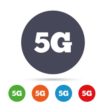 5G sign icon. Mobile telecommunications technology symbol. Round colourful buttons with flat icons. Vector Reklamní fotografie - 78777148