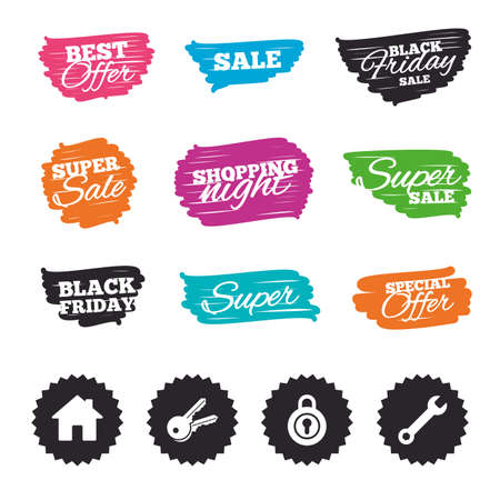 Ink brush sale banners and stripes. Home key icon. Wrench service tool symbol. Locker sign. Main page web navigation. Special offer. Ink stroke. Vector