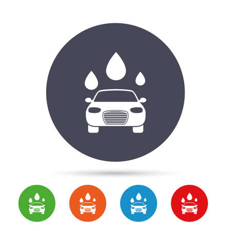 Car wash icon. Automated teller carwash symbol. Water drops signs. Round colourful buttons with flat icons. Vector