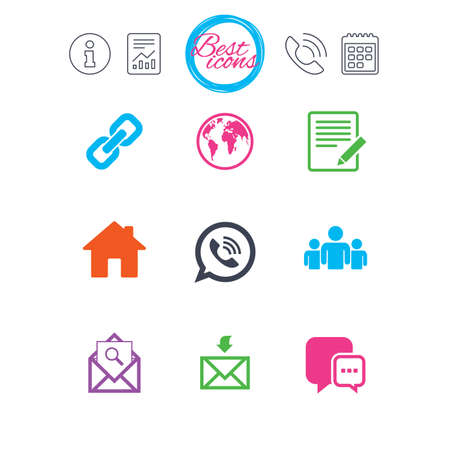 Information, report and calendar signs. Communication icons. Contact, mail signs. E-mail, call phone and group symbols. Classic simple flat web icons. Vector Illustration
