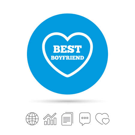 Best boyfriend sign icon. Heart love symbol. Copy files, chat speech bubble and chart web icons. Vector Illustration