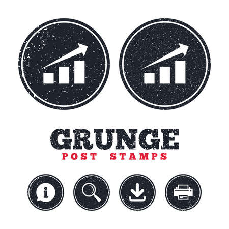 Grunge post stamps. Chart with arrow sign icon. Success diagram symbol. Statistics. Information, download and printer signs. Aged texture web buttons. Vector Banco de Imagens - 78777526