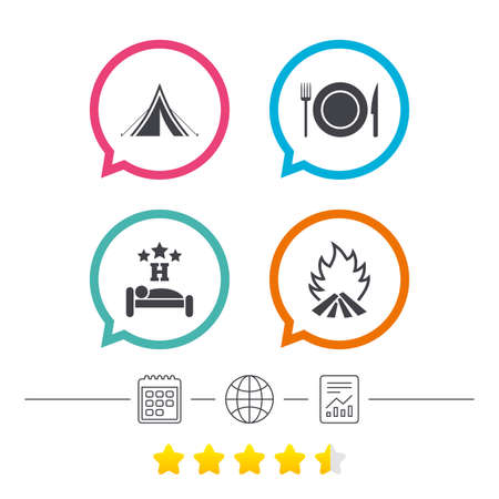 Food, sleep, camping tent and fire icons. Knife, fork and dish. Hotel or bed and breakfast. Road signs. Calendar, internet globe and report linear icons. Star vote ranking. Vector