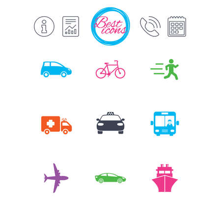 Information, report and calendar signs. Transport icons. Car, bike, bus and taxi signs. Shipping delivery, ambulance symbols. Classic simple flat web icons. Vector