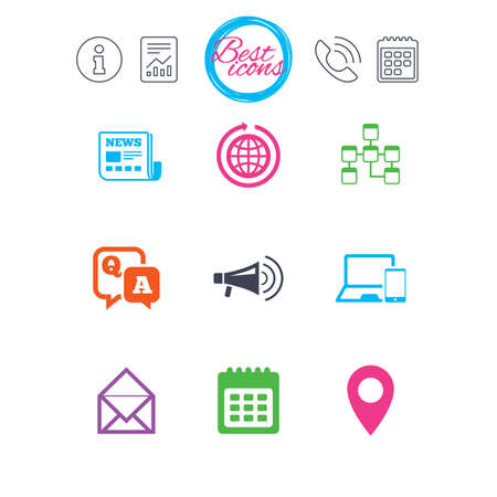 open notebook: Information, report and calendar signs. Communication icons. News, chat messages and calendar signs. E-mail, question and answer symbols. Classic simple flat web icons. Vector Illustration