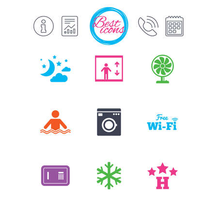 Information, report and calendar signs. Hotel, apartment service icons. Washing machine. Wifi, air conditioning and swimming pool symbols. Classic simple flat web icons. Vector