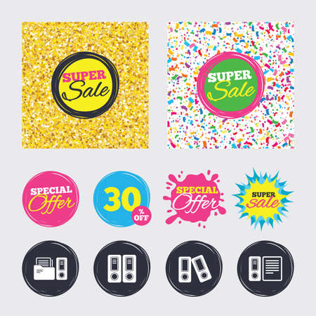Gold glitter and confetti backgrounds. Covers, posters and flyers design. Accounting icons. Document storage in folders sign symbols. Sale banners. Special offer splash. Vector Иллюстрация