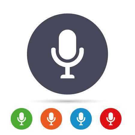 voices: Microphone icon. Speaker symbol. Live music sign. Round colourful buttons with flat icons. Vector