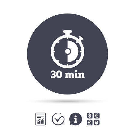 Timer sign icon. 30 minutes stopwatch symbol. Report document, information and check tick icons. Currency exchange. Vector