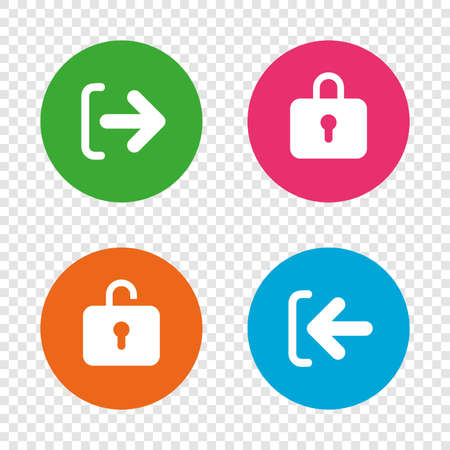 Login and Logout icons. Sign in or Sign out symbols. Lock icon. Round buttons on transparent background. Vector Ilustrace