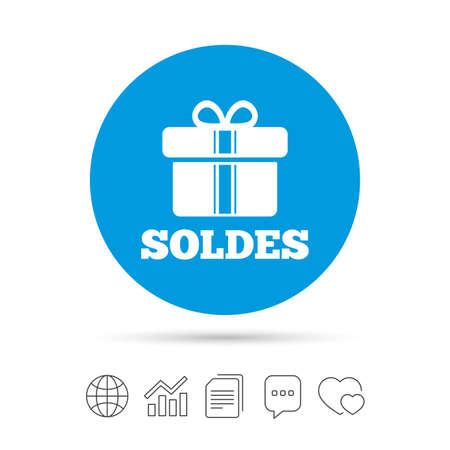 Soldes - Sale in French sign icon. Gift box with ribbons symbol. Copy files, chat speech bubble and chart web icons. Vector Stock Vector - 78777736