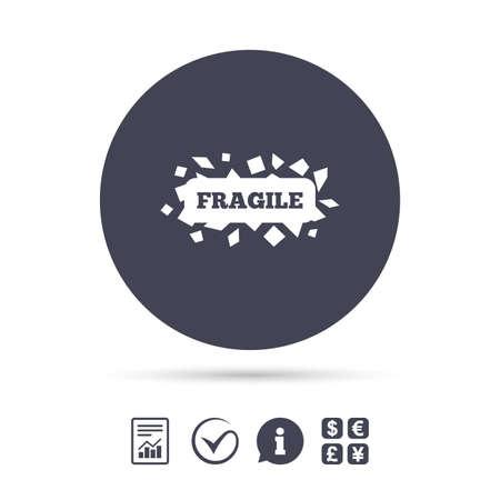 깨지기 쉬운 소포 서명 아이콘입니다. 섬세한 패키지 배달 기호. 보고서, 정보 및 틱 아이콘을 확인하십시오. 환전소. 벡터