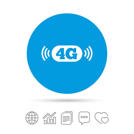 4G sign icon. Mobile telecommunications technology symbol. Copy files, chat speech bubble and chart web icons. Vector