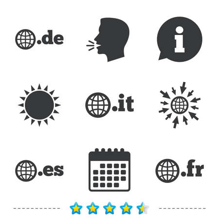 Top-level internet domain icons. De, It, Es and Fr symbols with globe. Unique national DNS names. Information, go to web and calendar icons. Sun and loud speak symbol. Vector